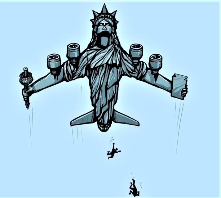 America's Lady Liberty Plane in flight while desperate fleeing Afghanis fall from the sky.